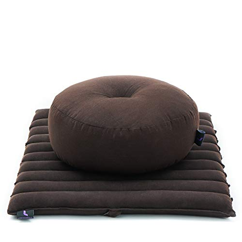 LEEWADEE Set de meditación Mini – Cojín de Yoga Zafu y colchoneta de meditación...