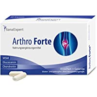 SanaExpert Arthro Forte, Suplemento Nutricional para Cartílagos, Articulaciones y Huesos, con Sulfato de Glucosamina, Micronutrientes, Sodio, MSN, 60 Cápsulas