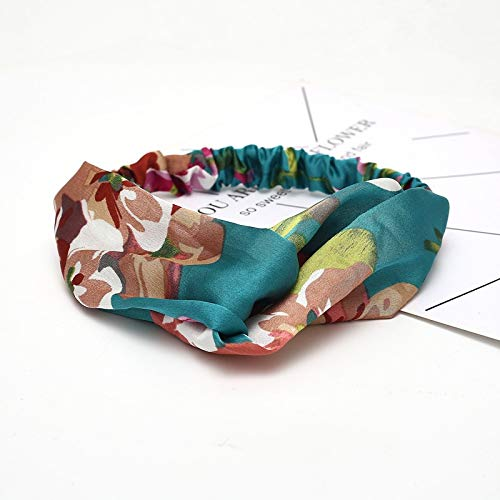 Diadema para mujer, accesorios para el pelo, diseño de lazo de gasa floral para el pelo, diadema de tela con nudo cruzado, tocado para señoras