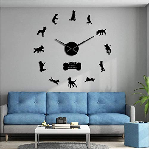 tyjsb Belgian Shepherd 3D Clock Security Dog Belgian Malinois Large DIY Wall Watch Animals Silhouette Acrylic Mirror Sticker-27inch