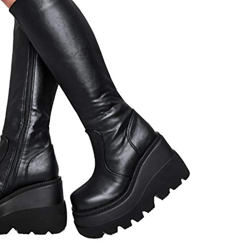 Dihope Martin - Botas altas para mujer clásicas con tacón alto de piel sintética y piel sintética Noir 3 36