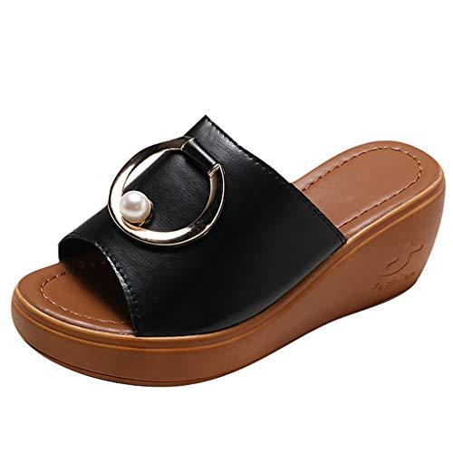 ROVNKD Zapatos informales para mujer de verano, con cuña plataforma, zapatos informales, sandalias para mujer, 35, 36, 37, 38, 39, 40, color Negro, talla 40 EU