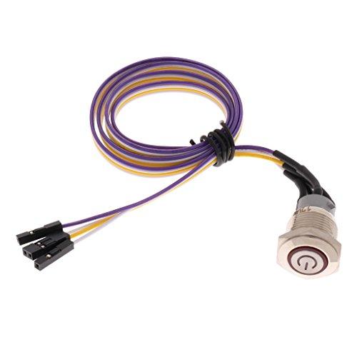 IPOTCH 1 Paquete de 16 Mm, Interruptor de Chasis DIY para Computadora con Cable de Alimentación de 60 Cm / 23,6 Pulgadas