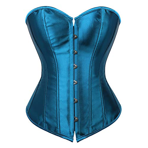 jutrisujo Mujer Corset disfrazs de Lace Bustiers Fajas Corpiño Nupcial Lencería Talla Grande Cintura Cincher Azul 3XL