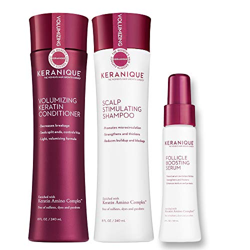 Keranique 60 Day Hair Boost Kit   Shampoo, Conditioner and Follicle Boosting Serum   Keratin Amino Complex   Free of Sulfates, Dyes, and Parabens   Strengthens Thinning Hair