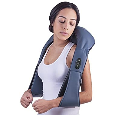 Cordless Rechargeable Neck & Back Shiatsu Massager By Bruntmor | 3-D Deep Kneading Portable Full Body Massager With Heat | Ideal For Relieving Shoulder, Foot, Lower Back, Lumbar Pain & Sore Muscles