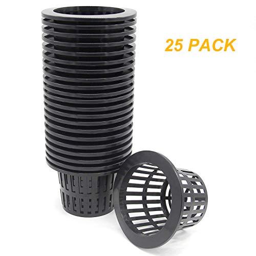 Coolrunner 25 Pack 4 inch Garden Net Cups Pots, Plastic Plant Nursery Pots,...