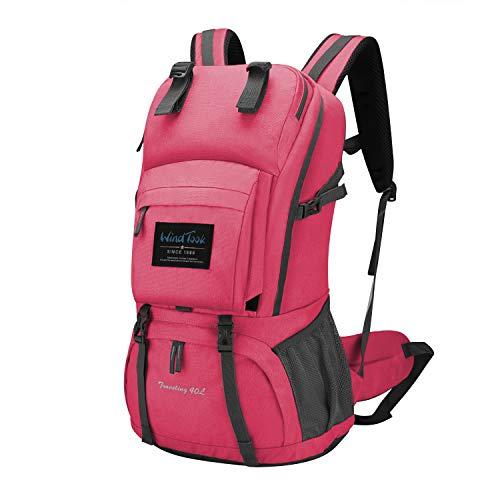 Wind Took 40L Damen Rucksack Wanderrucksack Trekkingrucksack Daypack mit Regenschutz, 55 x 33 x 20 cm, Pink