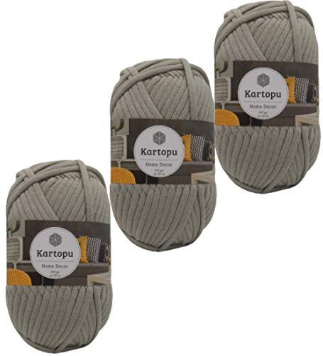 3x200gr Home Decor -weiches Textilgarn- gleichmäßige Einfärbung und Garnstärke- Häkelgarn für Kissenhüllen, Taschen, Häkeldecken- Jersey Garn in großer Farbauswahl (920 mittelgrau)