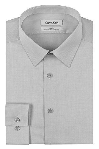 "Calvin Klein Men's Dress Shirt Slim Fit Non Iron Herringbone, Smoke, 16"" Neck 32""-33"" Sleeve (Large)"
