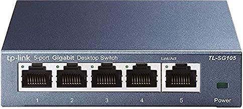 TP-Link 5 Port Gigabit Ethernet Network Switch | Ethernet Splitter | Sturdy Metal w/ Shielded Ports | Plug-and-Play | Traffic Optimization | Unmanaged (TL-SG105) (Renewed)