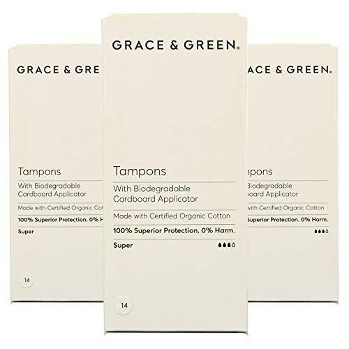 Grace & Green, Tampons aus 100% Bio-Baumwolle mit biologisch abbaubarem Applikator (Super - 3 Pack)
