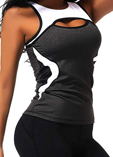 CROSS1946 Damen Sporttop Yoga Colorblock Oberteil Laufen Fitness Funktions Shirt Tank Tops Schwarz Large