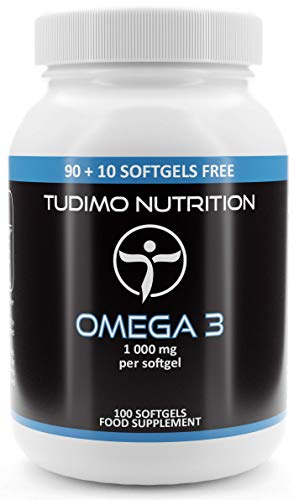 Omega 3 | 1000mg per Softgel - 100 pcs (3+ Month Supply) of Rapidly Disintegrating Capsules, Each with 1000 mg of Premium Quality Fish Oil, by TUDIMO