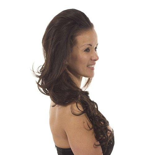 Hair By MissTresses, hittebestendige halve pruik haarstukje, loren donkerbruin