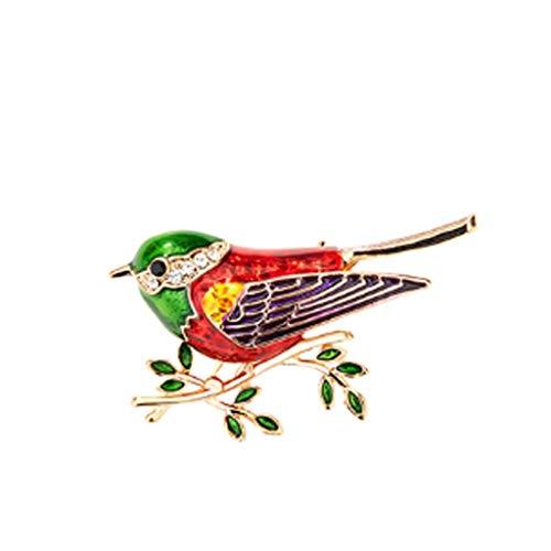 SSMDYLYM Retro Pintado Hola Broche de Mujeres Salvaje pájaro Lindo Ramillete Traje Chaqueta Escote Pin decoración suéter Hebilla