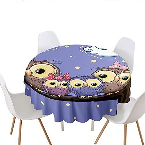 Highdi Impermeable Mantel de Redondo, Antimanchas Lavable Manteles Moderno Decoración para Salón, Cocina, Comedor, Mesa, Interior y Exterior (Búho de la Nube,Diámetro 100cm)