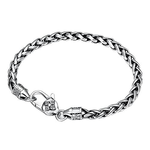 Pulsera vintage de plata de ley 925 con cadena de trigo para hombres y mujeres, 5 mm, 18/19/20/21 cm, Metal,