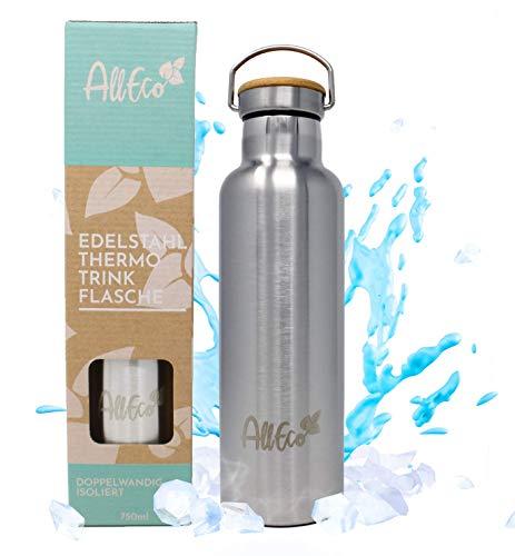 AllEco® Edelstahl Trinkflasche Thermosflasche 750ml Isolierflasche Thermo Bottle doppelwandig & auslaufsicher + Bambus Deckel & EXTRA Sportverschluss | Wasserflasche ideal für Camping Wandern Kinder