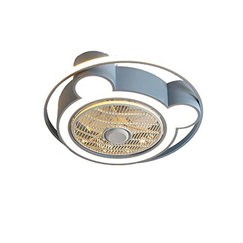 WSJZ Luz LED para Ventilador De Techo Iluminación De Ventiladores De Dormitorio Silencioso De Color Regulable Ventilador De Techo con Luces Y Control Remoto, 3 Colores 3 Velocidades,Azul