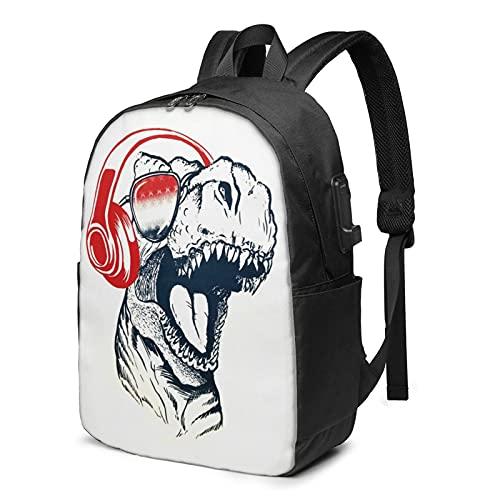 Zaino Dinosaur Rock, zaino da viaggio per computer portatile con porta di ricarica USB per uomini e donne 17', Come mostrato, Taglia unica,
