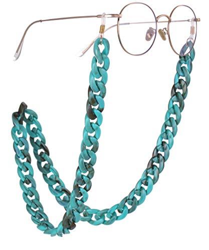TEAMER - Cadena acrílica para gafas de sol con diseño bohemio de color turquesa para mujer