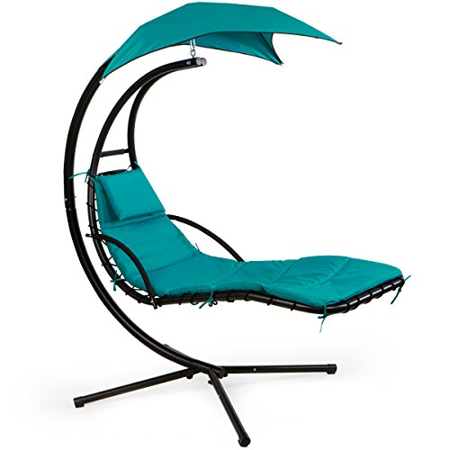 Barton Hanging Chaise Lounger Chair Arc Stand Porch Swing Hammock Chair w/Canopy Umbrella