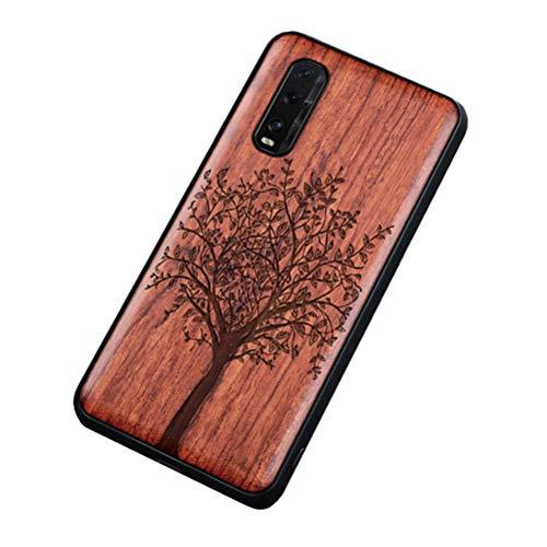 Homi2019 Funda de móvil de madera compatible con Oppo Find X2 Pro, funda de madera y TPU híbrida para teléfono móvil (palisandro)