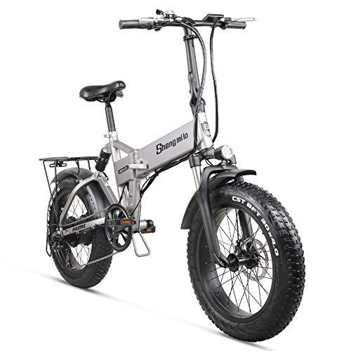 Shengmilo Bicicleta de montaña eléctrica 2020 500W * 48V * 12.8Ah 20Inch Bicicleta de Ciudad Plegable eléctrica de 7 velocidades Shimano con Pantalla LCD y Rueda integrada para Adultos (Gris)