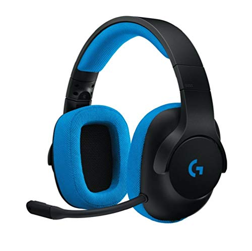 Logitech G233 Prodigy Gaming-Headset, 40mm Pro-G Treiber, 3,5 mm Klinke, PC-Splitter, Abnehmbares Noise-Cancelling Mikrofon, 2 m Kabel, PC/Xbox One/PS4/Nintendo Switch/Handy/Tablet - schwarz/blau