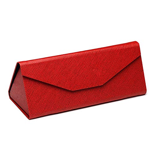 Funda de Gafa,estuche de anteojos Estuche para las Caja de almacenamiento de PU caja de protección triangular para gafas de sol plegable forro flocado elegante simple portátil y no ocupa espacio