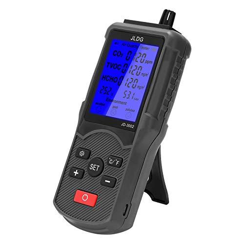 Galapar Monitor de Calidad del Aire Probador preciso, Probador de Calidad del Aire Multifuncional Medidor de CO2 HCHO TVOC Dispositivo de medición de Temperatura y Humedad portátil