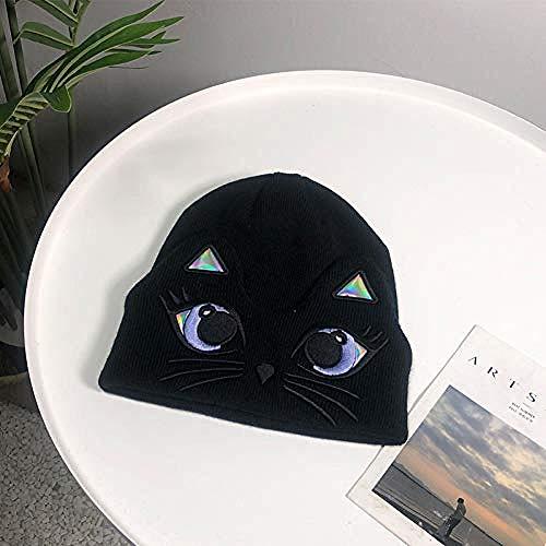 DWcamellia Hut Nette Katze Muster Frauen S Hut Kopfbedeckung für Frauen Mützen Strickmütze Männer S Braid Hüte aufrecht Mittelfinger Winter warm, schwarz