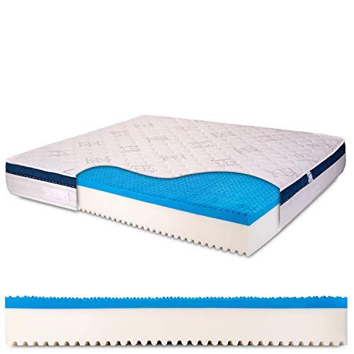 Materasso Matrimoniale memory gel 6 cm, alto 25 cm con bayscent neutralizer, Antimuffa, Ortopedico, 100% Made in Italy - mod. Dolce Sonno - 160 x 190 cm (matrimoniale)