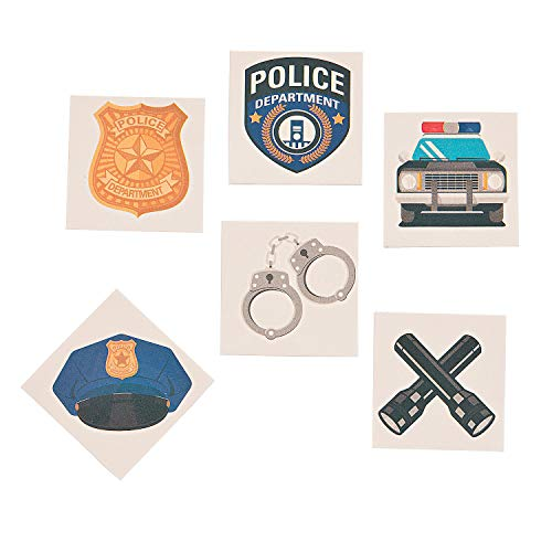 Fun Express Police Party Tattoos (72 Pieces) Party Favors, Arts & Crafts Supplies
