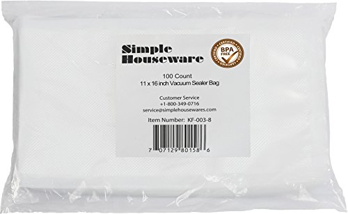 Find Discount 100 Count - Precut Food Vacuum Sealer Bags Storage, Gallon Size 11 x 16