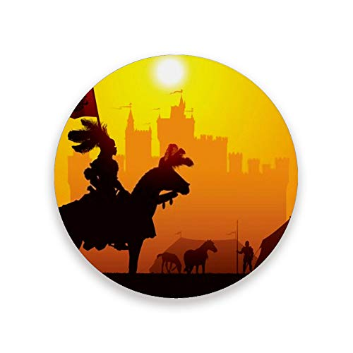 ZHONGJI Coasters Drinks absorbent Made of Ceramic Round Cup Mat Pad Home Kitchen 39 Inch Size Fit All Cups Equestrian Knight Castle On The Background Coasters Drinks