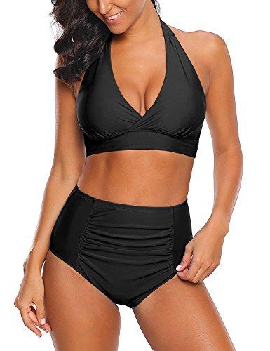 Roskiky Halter Bikinioberteil mit vorderseitigem Knoten, hoch taillierte Tankini Hose mit leichten Rüschen Schwarz Größe M