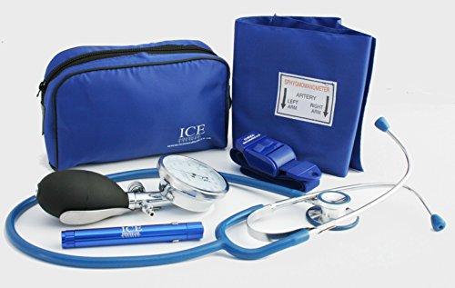 Blue Aneroid Arztset aus Blutdruckmessgerät, Stethoskop, Stiftlampe und Stauschlauch
