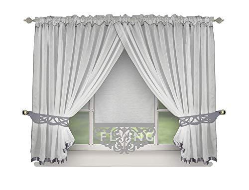 FKL Schöne Fertiggardine Fenstergardine Gardine Vorhang Panel Weiß Kräuselband Smokband Store 150x400 cm LB-144 (Grau)