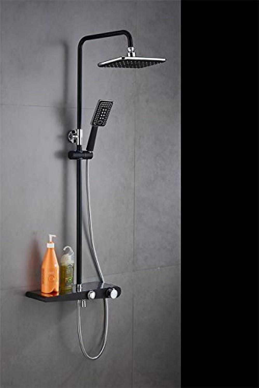 Dusche EuropIsch Booster Dusche Sprinkler Duschset Warmes Und Kaltes Wasser Wasserhahn Kupfer Schwarz Handgehalten Hebbar Badewanne Thermostat A.