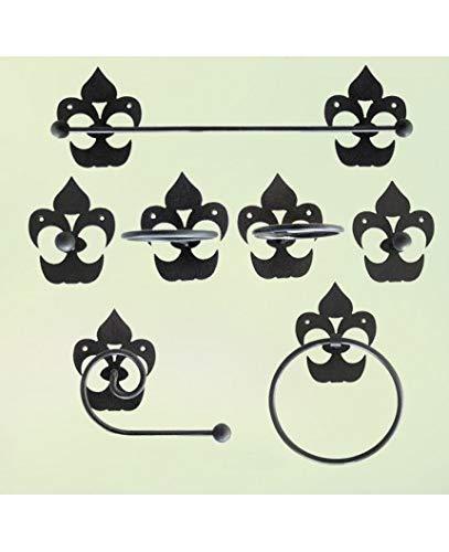 Hogares con Estilo - Juego de baño de Hierro Forjado artesanalmente en España formado por 7 Piezas. Modelo Picas Color Azul Oscuro