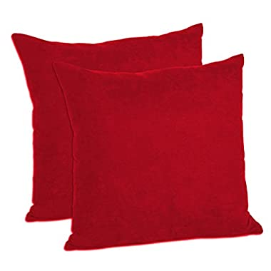 MoonRest - Pack of 2- Micro-Suede Decorative Throw Pillow Case - Faux Suede Cushion Cover (16 x16  Red)