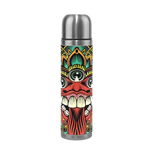 Sawhonn Traditionele Rituele Balinese Masker Thermos Waterfles Roestvrij Staal Dubbelwandige Geïsoleerde Vacuüm Cup Sport Jug Flask