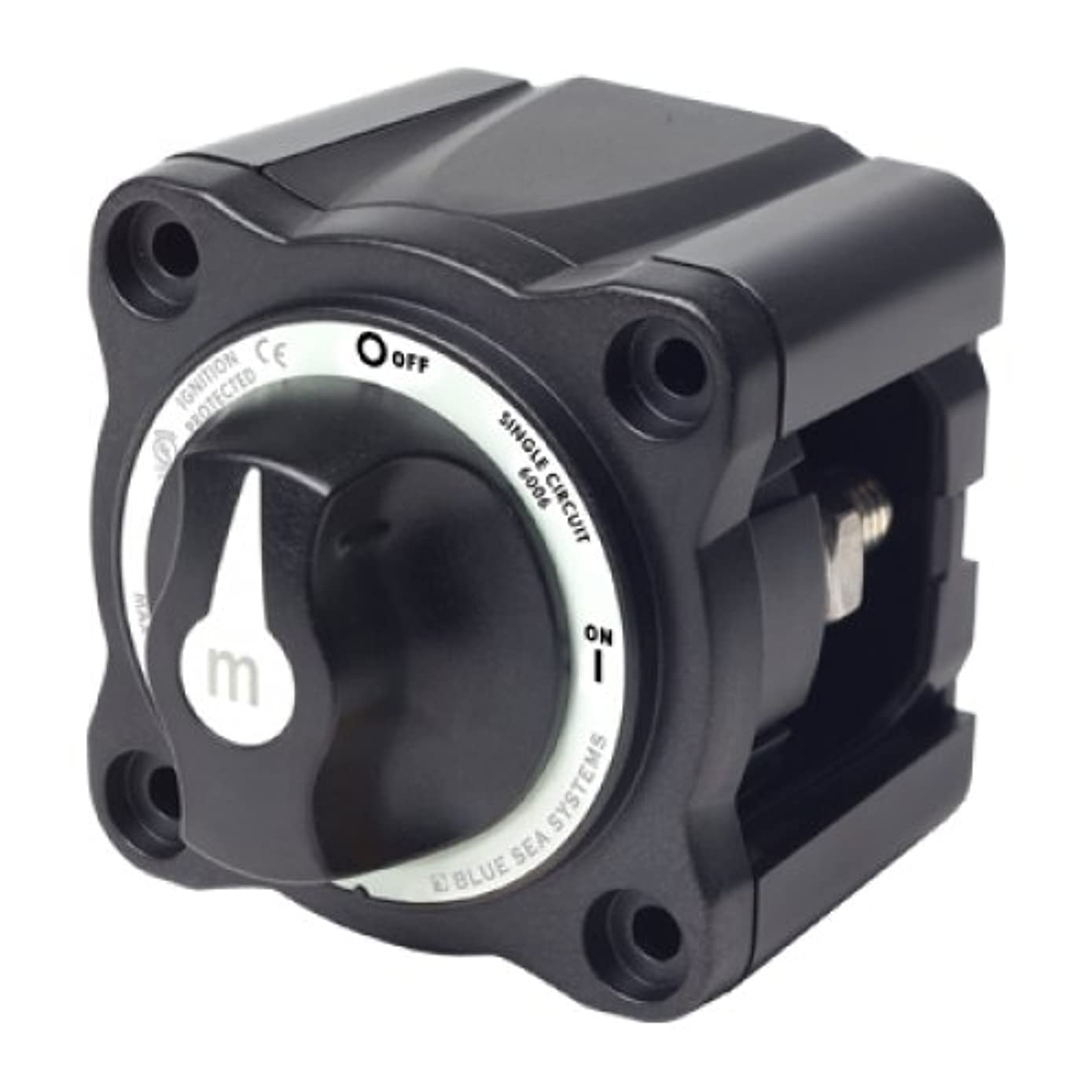 BLUE SEA SYSTEMS Mini Battery Switch, MFG# 6005200, Black, 300A cont., 500A int., 48VDC. Positions: single-circuit on-off. / BS-6006200 /