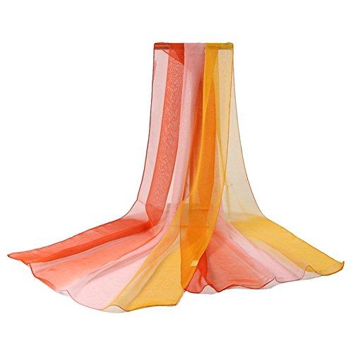 Womens foulard couleur dégradé long foulard en mousseline de soie châle foulards colorés Beach Cover up été femme dames serviette de plage Orange élégant et populaireDurable et utile