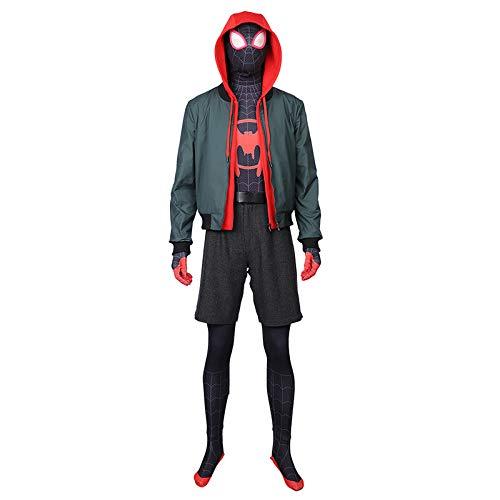 QWEASZER Spider-Man Into The Spider-Verse Miles Morales Body Aderente Halloween Cosplay Vestito Operato Festa Costume Anime Film Prestazione Onesies,Small Black Spider-L