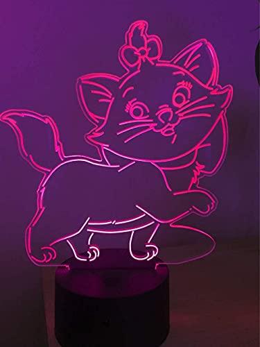 Luz De Engaño Óptica De Gato 3D Luz De Noche Led Luz De Noche De Engaño Óptico Lámpara De Cabecera Táctil De 7 Colores Decoración De Dormitorio Art Deco Luz De Noche Para Niños