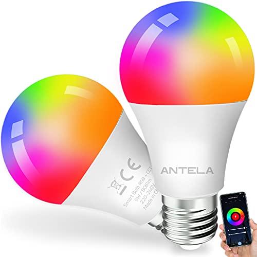 ANTELA Smart WLAN Alexa Glühbirne E27 9W LED Mehrfarbige Dimmbare Birne Lampe, App Steuern Kompatibel mit Google Home, Warmweiß (2700K) Kaltweiß (6500K), Kein Hub Benötigt, 2 Stück