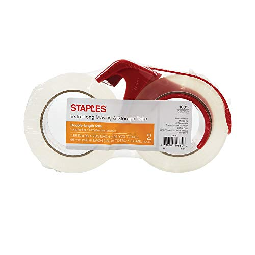 Staples 504405 Long Lasting Storage Tape with Dispenser 1.88-Inch x 98 Yds Clear 2/RL